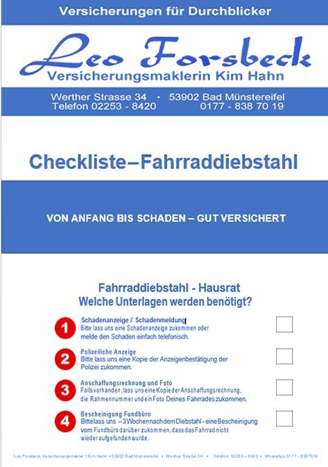 Checkliste Fahrraddiebstahl